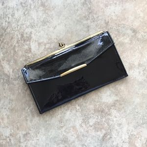 VTG black patent leather cowhide wallet